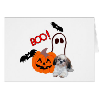 Tarjeta de felicitación de Shih Tzu Halloween