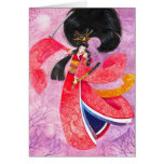 Tarjeta de felicitación de Ukioye del geisha del s