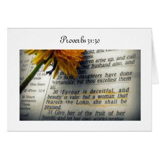 Tarjeta de felicitación del 31:30 de los proverbio