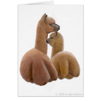 Tarjeta de felicitación del amor de la alpaca