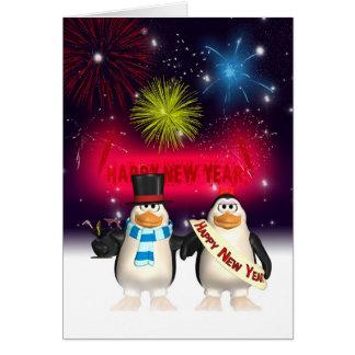 Tarjeta de felicitación del Año Nuevo - pingüinos