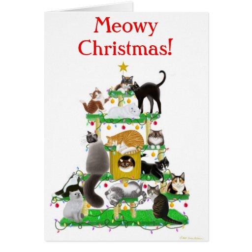 Tarjeta de felicitación del árbol del gato del nav