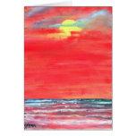tarjeta de felicitación del arte de la playa del p