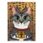 Tarjeta de felicitación del arte del gato de Baste
