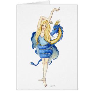 Tarjeta de felicitación del bailarín del dragón