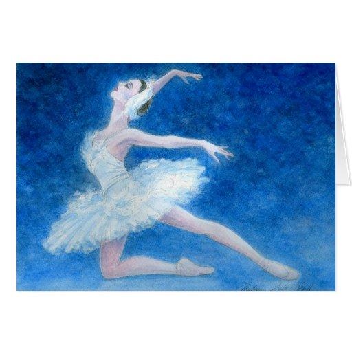 Tarjeta de felicitación del ballet del lago swan