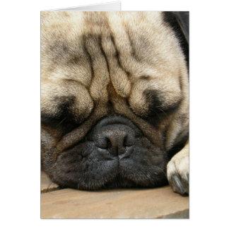 Tarjeta de felicitación del barro amasado el dormi