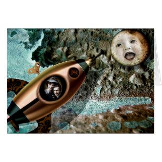Tarjeta de felicitación del bebé de la luna
