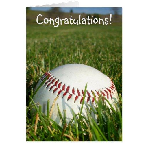Tarjeta de felicitación del béisbol de la enhorabu