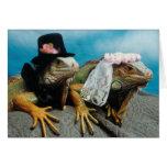 Tarjeta de felicitación del boda de la iguana