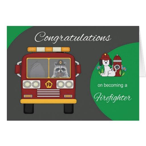 Tarjeta de felicitación del bombero de la enhorabu