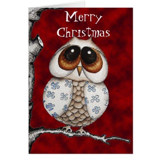 Tarjeta de felicitación del búho del navidad
