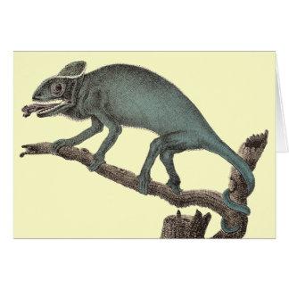 Tarjeta de felicitación del camaleón de un grabado