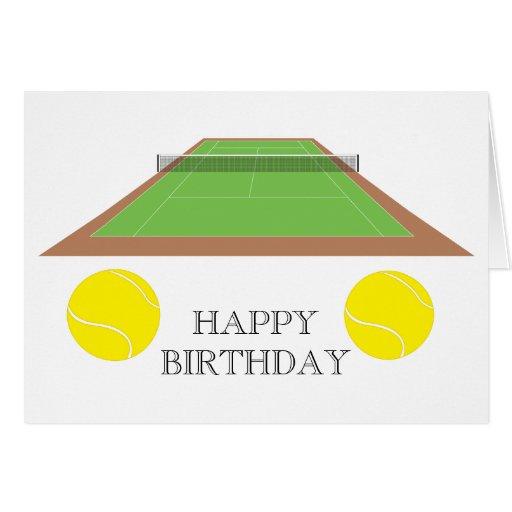 Tarjeta de felicitación del campo de tenis