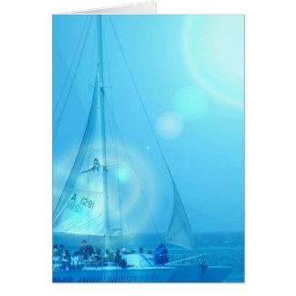 Tarjeta de felicitación del catamarán de la navega