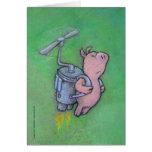 tarjeta de felicitación del cerdo del cohete