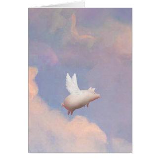 tarjeta de felicitación del cerdo del vuelo