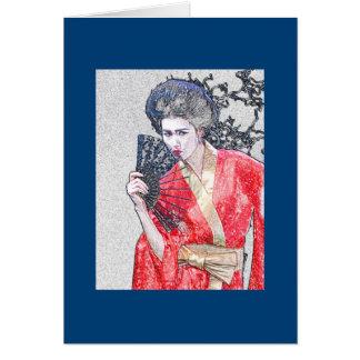 Tarjeta de felicitación del chica de geisha