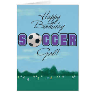 Tarjeta de felicitación del chica del fútbol