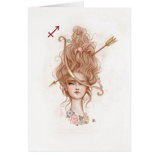 Tarjeta de felicitación del chica del zodiaco: Sag