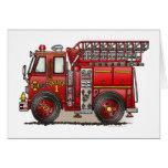 Tarjeta de felicitación del coche de bomberos de l