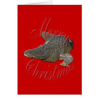 Tarjeta de felicitación del cocodrilo del navidad