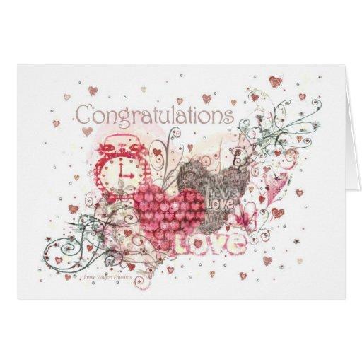 Tarjeta de felicitación del compromiso, del boda o