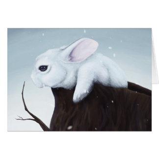 Tarjeta de felicitación del conejito de la nieve