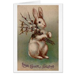 Tarjeta de felicitación del conejito de pascua del