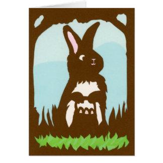 Tarjeta de felicitación del conejo de Pascua