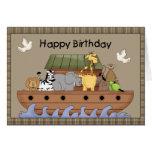 Tarjeta de felicitación del cumpleaños de la arca
