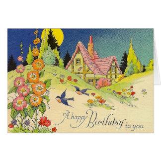 Tarjeta de felicitación del cumpleaños de la cabañ