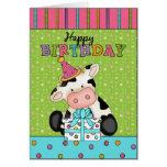 Tarjeta de felicitación del cumpleaños de la vaca