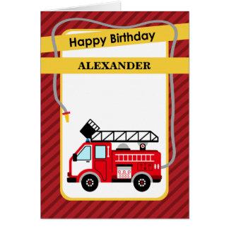 Tarjeta de felicitación del cumpleaños del bombero