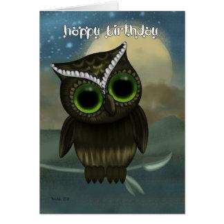 Tarjeta de felicitación del cumpleaños del búho n