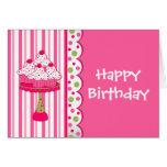 Tarjeta de felicitación del cumpleaños del chica d
