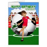 Tarjeta de felicitación del cumpleaños del fútbol
