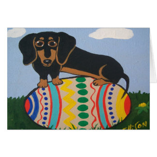 Tarjeta de felicitación del Dachshund de Pascua