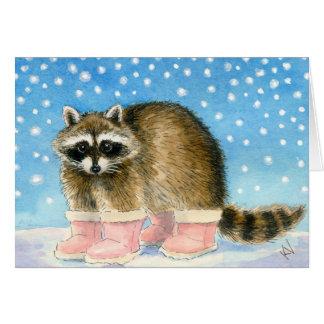 Tarjeta de felicitación del día de Raccoon'sSnow