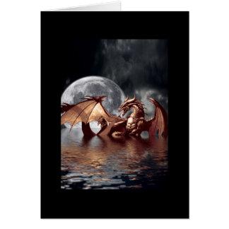 Tarjeta de felicitación del dragón y de la luna