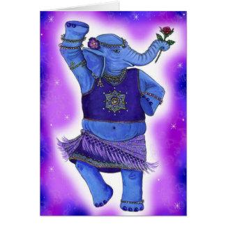 Tarjeta de felicitación del elefante del baile