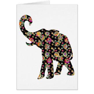 Tarjeta de felicitación del elefante del Hippie