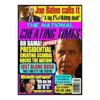 """Tarjeta de felicitación del escándalo de Obama Invitación 5"""" X 7"""""""