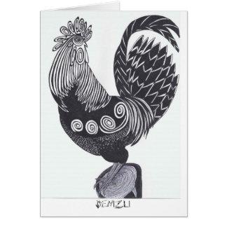 Tarjeta de felicitación del gallo de Denizli