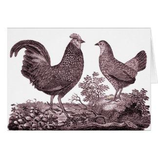 Tarjeta de felicitación del gallo y del pollo