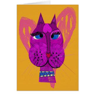 Tarjeta de felicitación del gatito de la diva