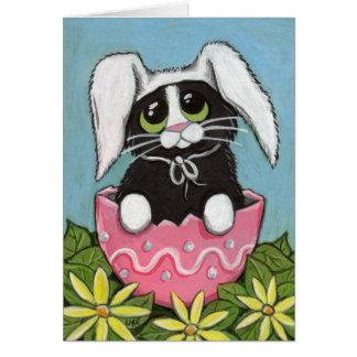 Tarjeta de felicitación del gatito de Pascua