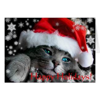 Tarjeta de felicitación del gatito de Santa