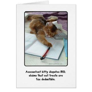 Tarjeta de felicitación del gatito del contable