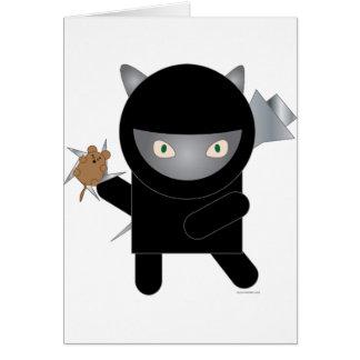 tarjeta de felicitación del gatito del ninja